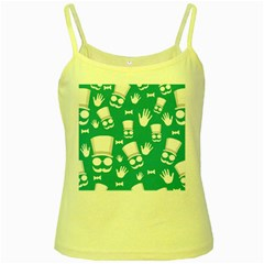 Gentleman Pattern Yellow Spaghetti Tank