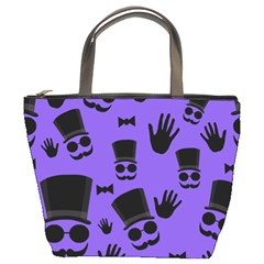 Gentleman purple pattern Bucket Bags