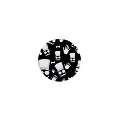 Gentleman - black and white pattern 1  Mini Buttons
