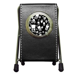 Gentleman   Black And White Pattern Pen Holder Desk Clocks