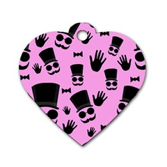 Gentleman - pink pattern Dog Tag Heart (Two Sides)