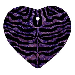 Skin2 Black Marble & Purple Marble Heart Ornament (two Sides)