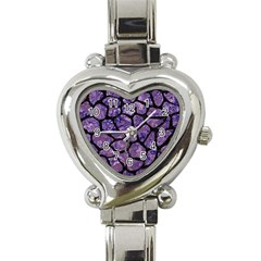 Skin1 Black Marble & Purple Marble Heart Italian Charm Watch