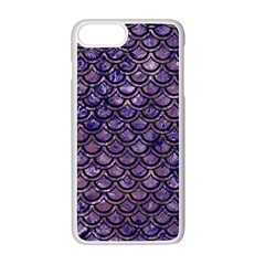 Scales2 Black Marble & Purple Marble (r) Apple Iphone 7 Plus White Seamless Case