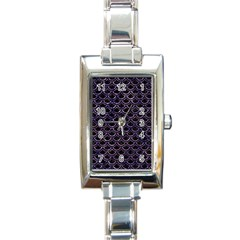 Scales2 Black Marble & Purple Marble Rectangle Italian Charm Watch