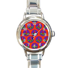 Christmas Candles Seamless Pattern Round Italian Charm Watch