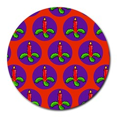 Christmas Candles Seamless Pattern Round Mousepads