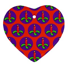 Christmas Candles Seamless Pattern Ornament (heart)