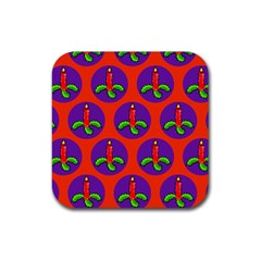 Christmas Candles Seamless Pattern Rubber Square Coaster (4 Pack)