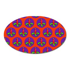 Christmas Candles Seamless Pattern Oval Magnet
