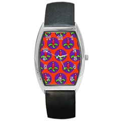 Christmas Candles Seamless Pattern Barrel Style Metal Watch