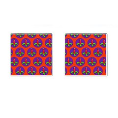 Christmas Candles Seamless Pattern Cufflinks (square)