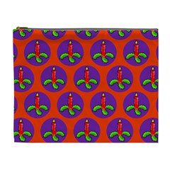 Christmas Candles Seamless Pattern Cosmetic Bag (xl)