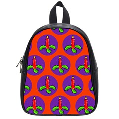 Christmas Candles Seamless Pattern School Bags (small)