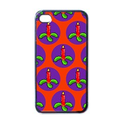 Christmas Candles Seamless Pattern Apple Iphone 4 Case (black)