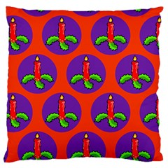 Christmas Candles Seamless Pattern Large Cushion Case (two Sides)