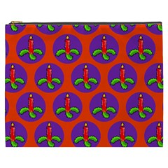 Christmas Candles Seamless Pattern Cosmetic Bag (xxxl)