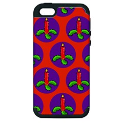 Christmas Candles Seamless Pattern Apple Iphone 5 Hardshell Case (pc+silicone)