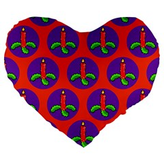 Christmas Candles Seamless Pattern Large 19  Premium Heart Shape Cushions