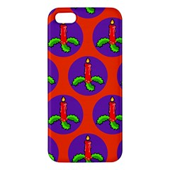 Christmas Candles Seamless Pattern Apple Iphone 5 Premium Hardshell Case