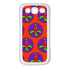 Christmas Candles Seamless Pattern Samsung Galaxy S3 Back Case (white)