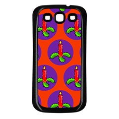 Christmas Candles Seamless Pattern Samsung Galaxy S3 Back Case (Black)