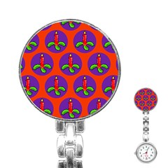 Christmas Candles Seamless Pattern Stainless Steel Nurses Watch