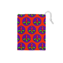 Christmas Candles Seamless Pattern Drawstring Pouches (small)