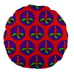 Christmas Candles Seamless Pattern Large 18  Premium Flano Round Cushions