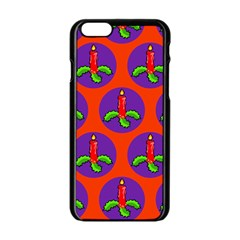 Christmas Candles Seamless Pattern Apple Iphone 6/6s Black Enamel Case
