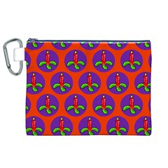 Christmas Candles Seamless Pattern Canvas Cosmetic Bag (xl)