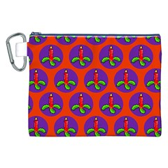 Christmas Candles Seamless Pattern Canvas Cosmetic Bag (xxl)