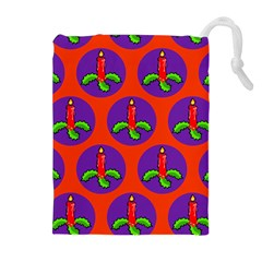 Christmas Candles Seamless Pattern Drawstring Pouches (extra Large)