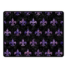 Royal1 Black Marble & Purple Marble (r) Double Sided Fleece Blanket (small)