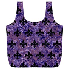 Royal1 Black Marble & Purple Marble Full Print Recycle Bag (xl)
