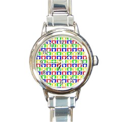 Colorful Curtains Seamless Pattern Round Italian Charm Watch