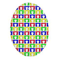 Colorful Curtains Seamless Pattern Ornament (oval)