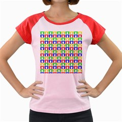 Colorful Curtains Seamless Pattern Women s Cap Sleeve T Shirt