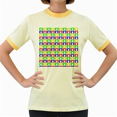 Colorful Curtains Seamless Pattern Women s Fitted Ringer T Shirts