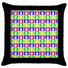 Colorful Curtains Seamless Pattern Throw Pillow Case (black)