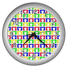 Colorful Curtains Seamless Pattern Wall Clocks (silver)