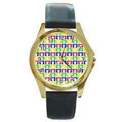 Colorful Curtains Seamless Pattern Round Gold Metal Watch