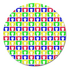 Colorful Curtains Seamless Pattern Magnet 5  (round)