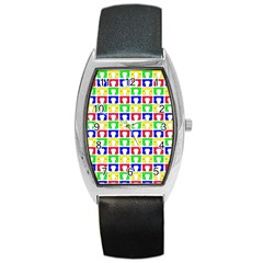 Colorful Curtains Seamless Pattern Barrel Style Metal Watch