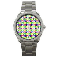 Colorful Curtains Seamless Pattern Sport Metal Watch