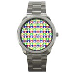 Colorful Curtains Seamless Pattern Sport Metal Watch Front