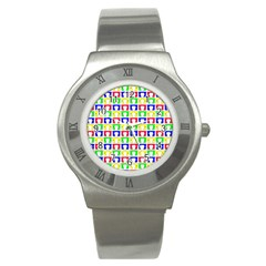 Colorful Curtains Seamless Pattern Stainless Steel Watch