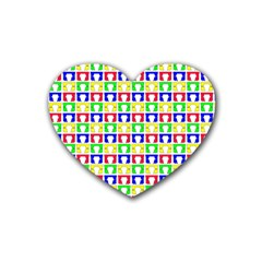 Colorful Curtains Seamless Pattern Rubber Coaster (heart)