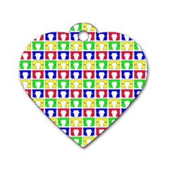Colorful Curtains Seamless Pattern Dog Tag Heart (two Sides)