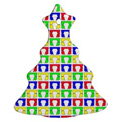 Colorful Curtains Seamless Pattern Christmas Tree Ornament (2 Sides)